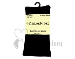 Chloe Noel Ice Skating Boot High Socks Black